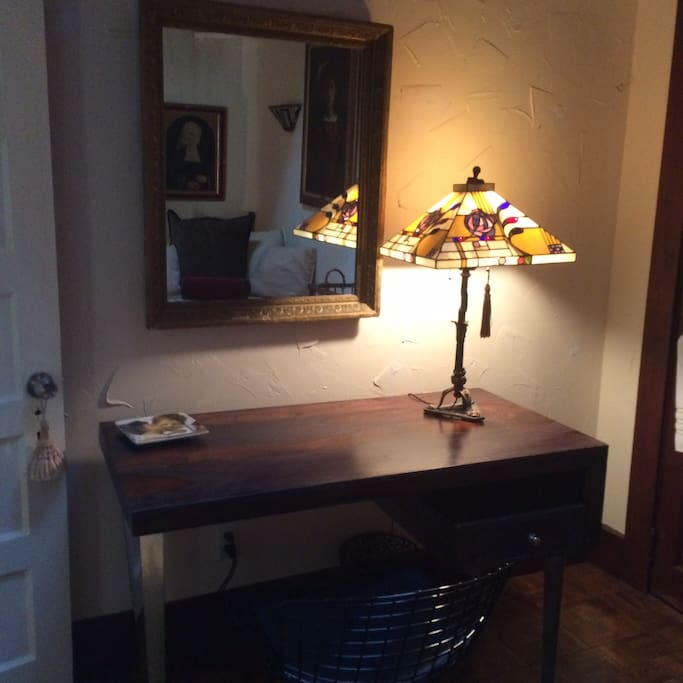 Desk and mirror