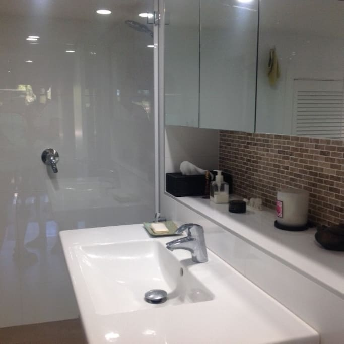 Modern bathroom with shower and large bath.