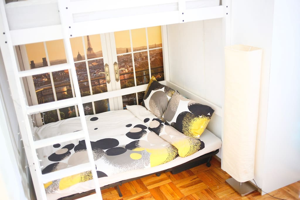 Convertible sofa bed turns into a cozy sleeping space