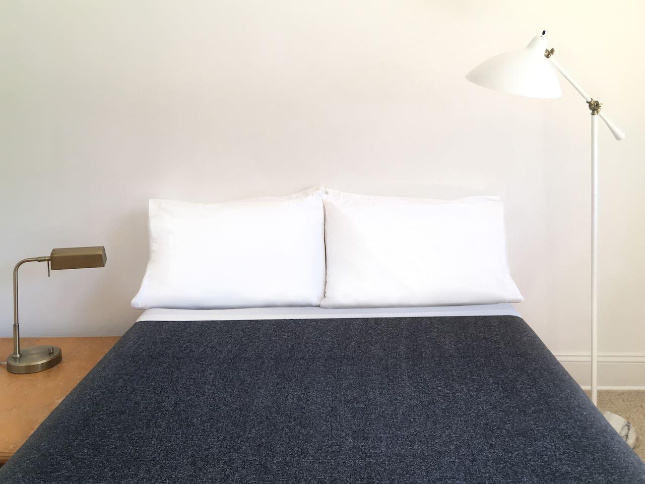 Platform bed with memory foam mattress