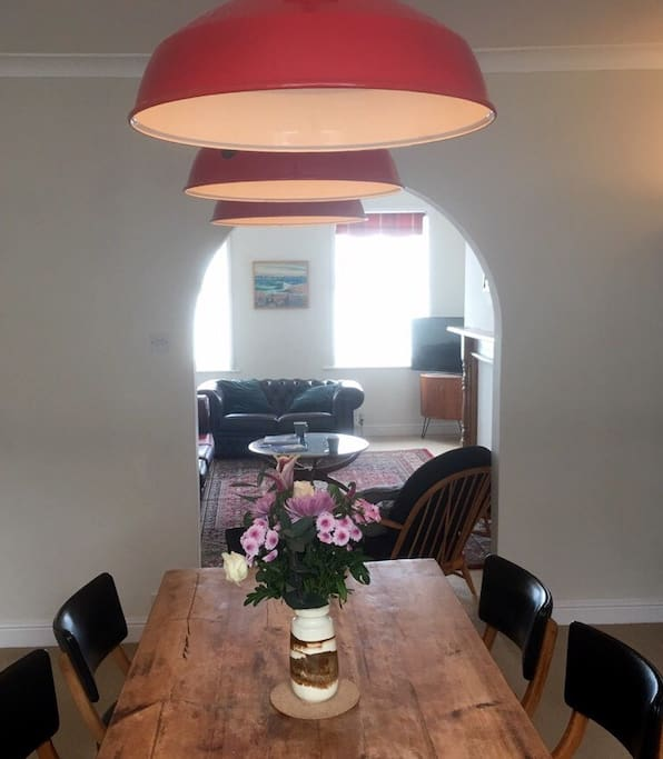 Large dining room and lounge with 3 windows of seaviews
