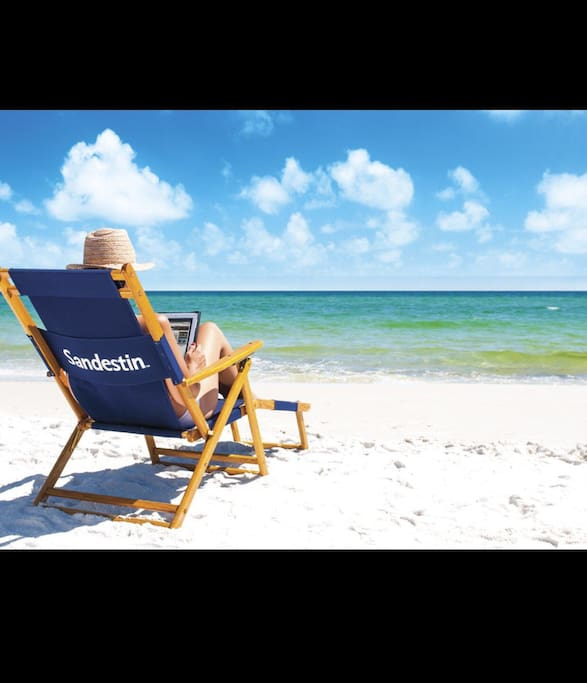 Gulf of Mexico located within resort. Chairs and umbrellas available for rent.