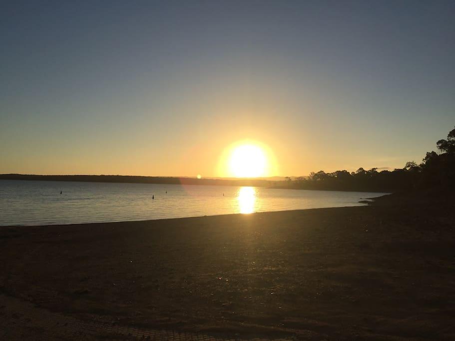 Sunset on lake