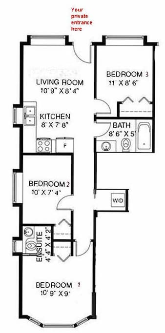 About 700 square feet. 3 bedrooms, 1 full bath, 1 ensuite half bath (sink and toilet only), insuite washer and dryer. A very comfortable  and bright private suite for you and your family or friends to enjoy during your visit.