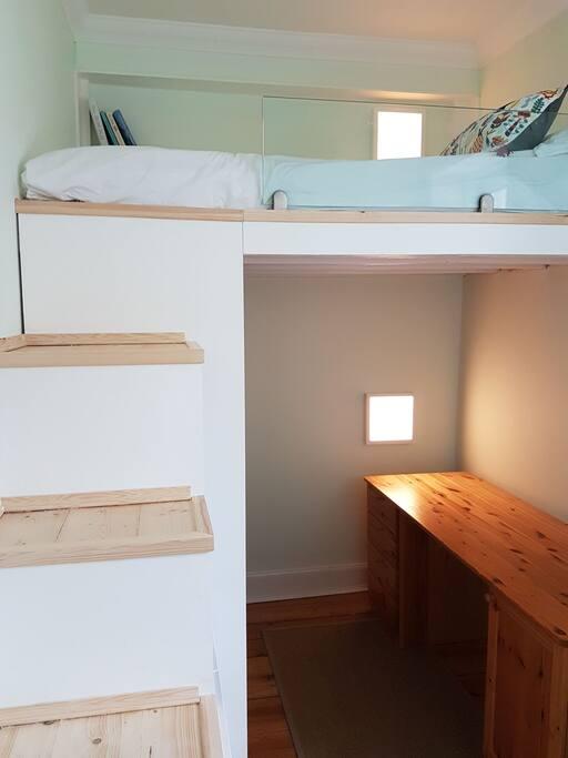 Third Bedroom with mezzanine double.