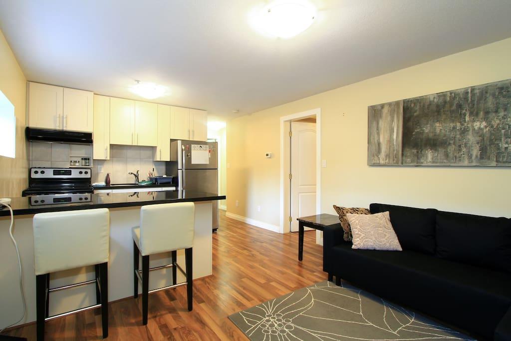 View when entering private basement suite