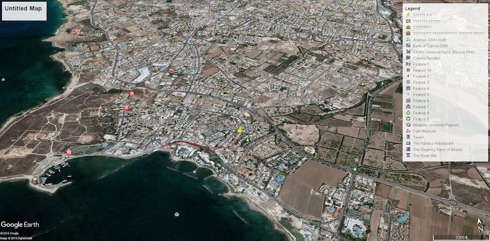 Beach =   480 meters Supermarket = 130 meters Main bus station = 1.108 meters Municipal baths = 750 meters