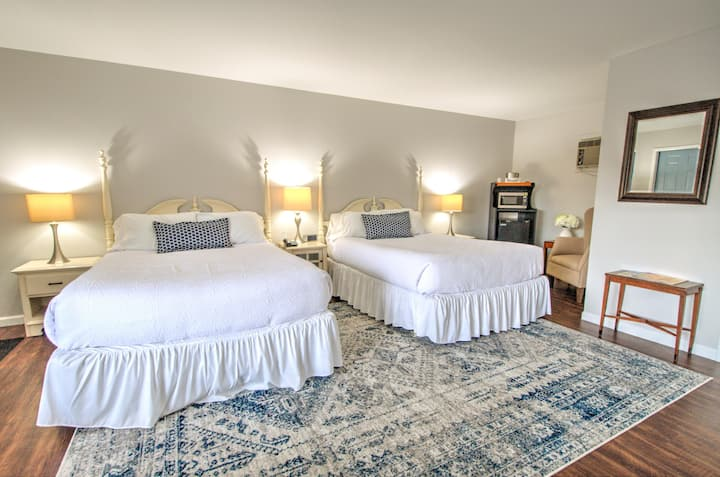 East Shore Lodging - Boutique Motel - Double Queen Room - Comforts of home and the luxuries of travel - Double Queen Room w/Private Bath & Private entrance, Boat Rentals available.