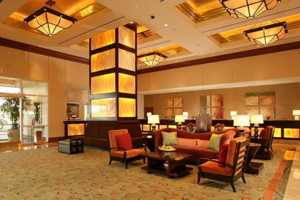 The lobby in tower 1 at the Signature