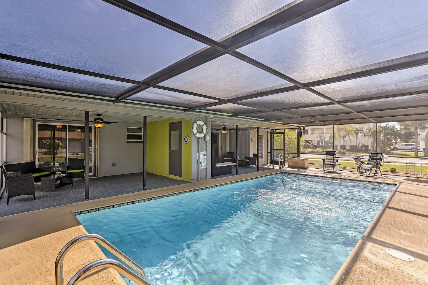 Look forward to relaxing by this shared solar-heated pool in Cape Coral!