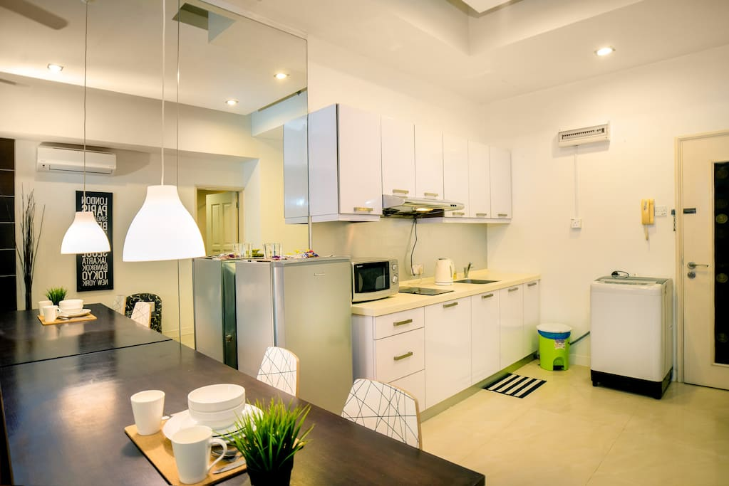 Kitchen allow to have light cooking, washing machine do available.