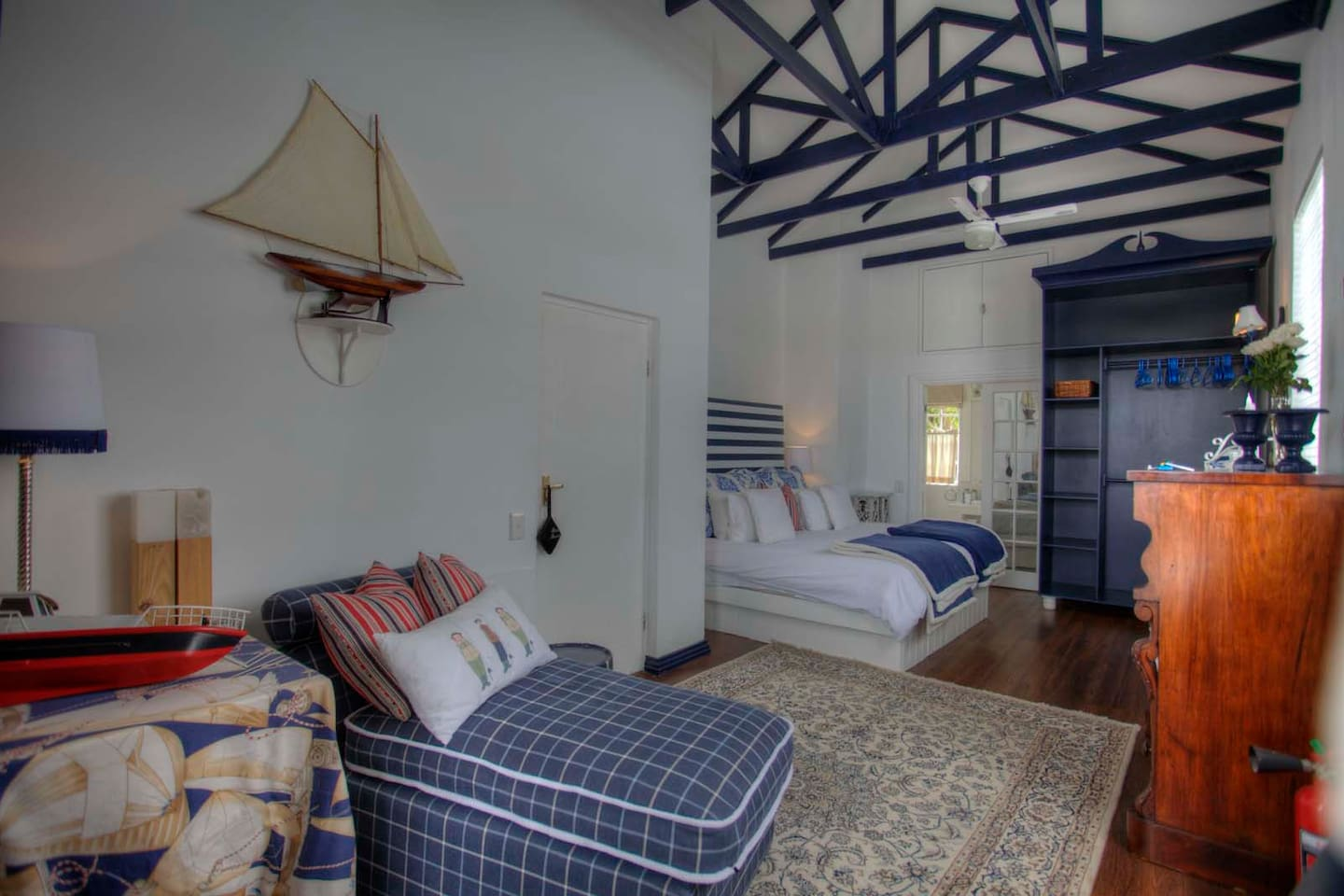 King Size Upstairs room with en suite shower and tiny balcony over looking pool and lapa area