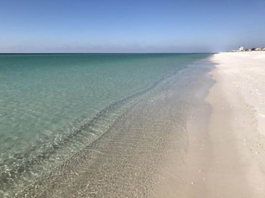 Gorgeous, clear spring waters looking down the shoreline towards Pensacola.
