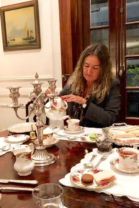 Serving tea to the guests