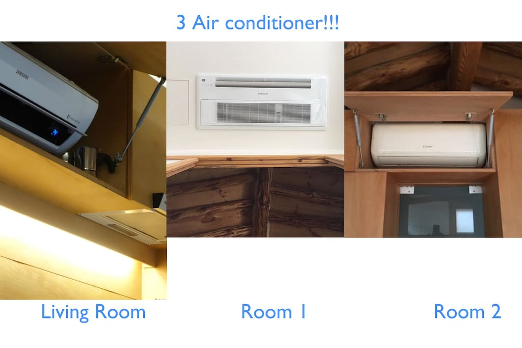 An important air conditioner in summer Air conditioners are in every space. There are three cool air conditioners. One air conditioner in the living room, one main room, and one traditional space.