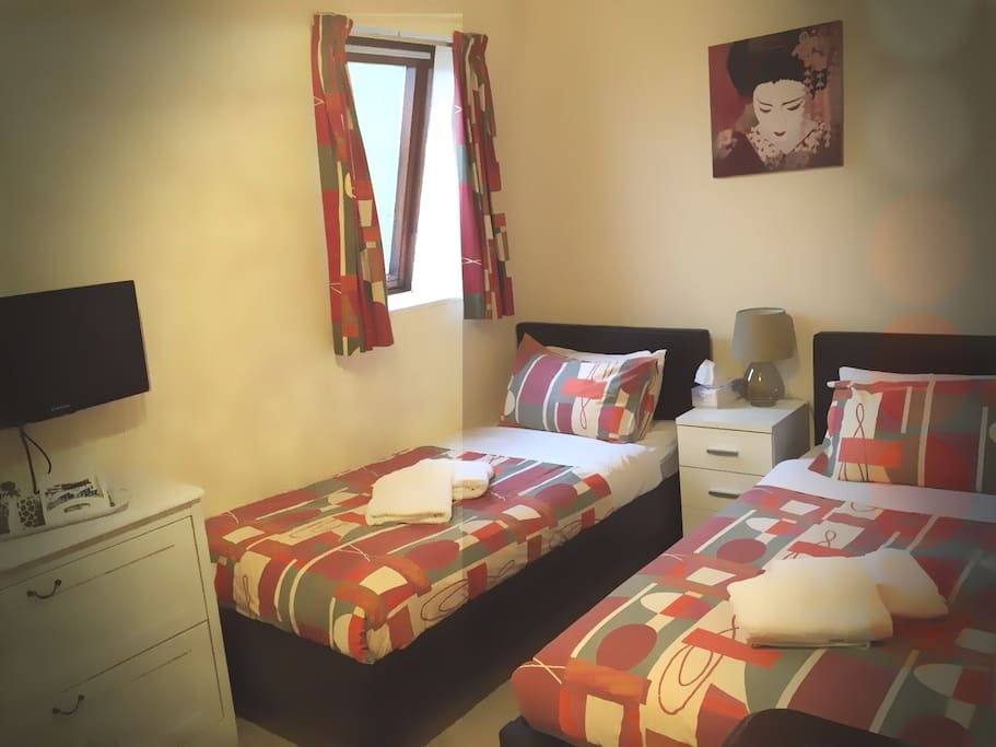 Example of a twin room with Oriental inspired decor. Tidy, Relaxing and Zen...