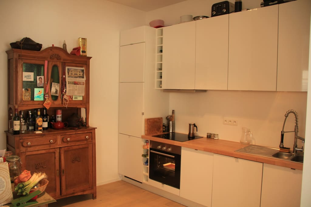 Kitchen with oven & cooking gear