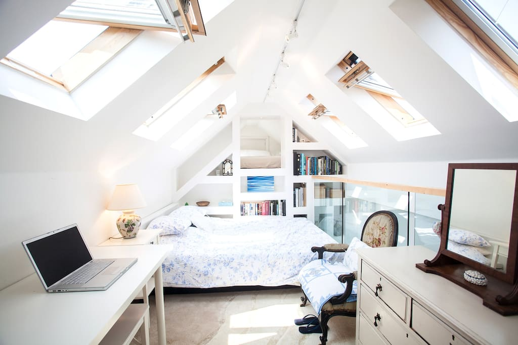 Mezzanine bedroom with large double bed