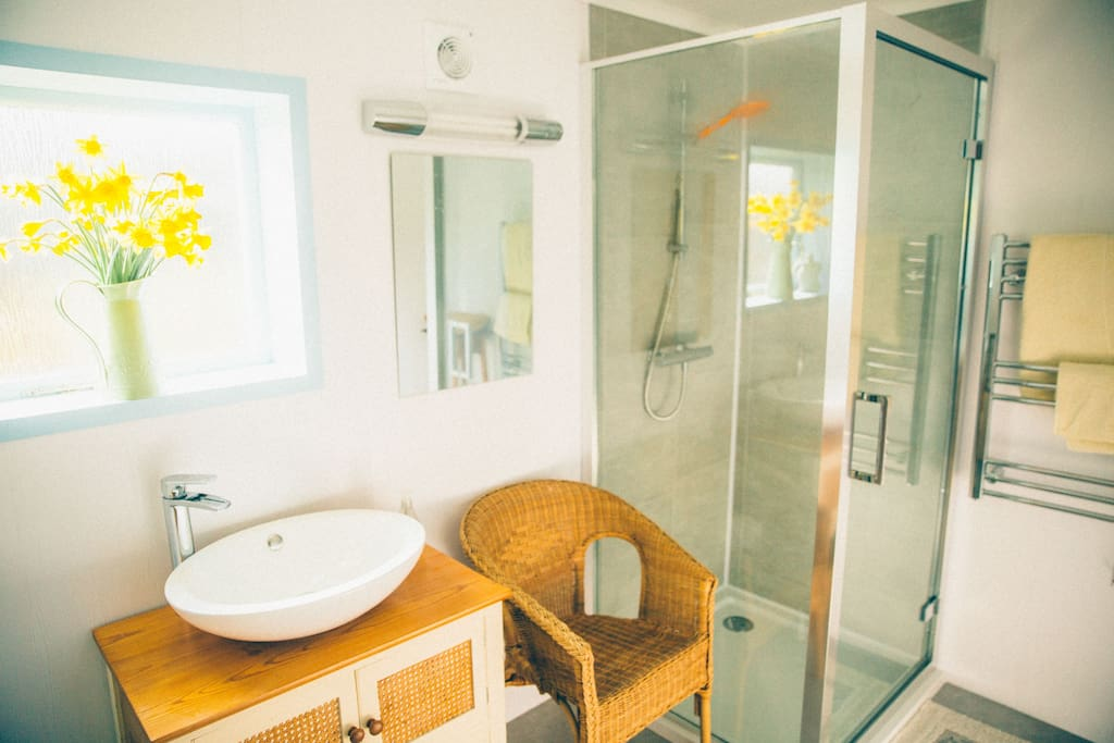 Spacious shower room with hot water, hairdryer, shaver socket and heating