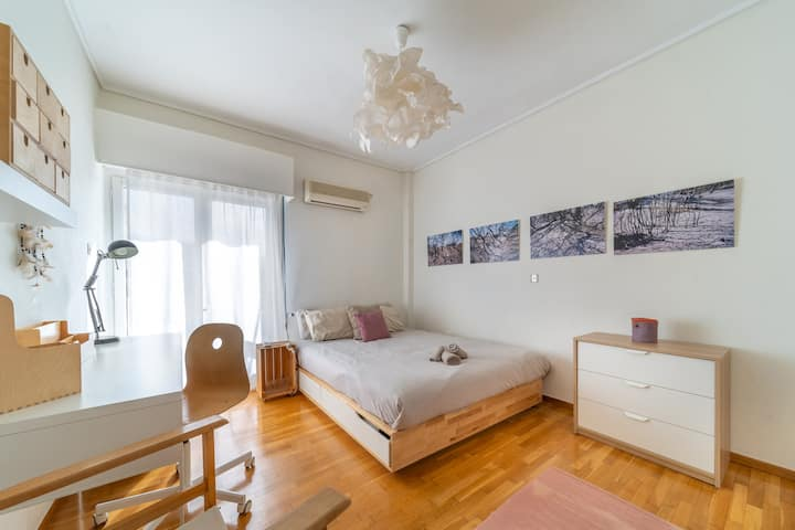 Large, sunny double bedroom with private balcony