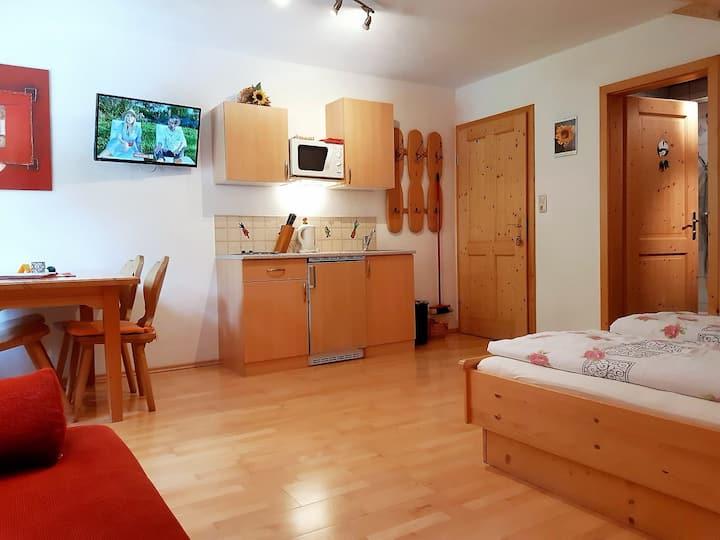 """Biobauernhof Poidlbauer (Göstling an der Ybbs), Mehrbettzimmer """"Poidlbauernkogl"""" mit Küchenzeile"""