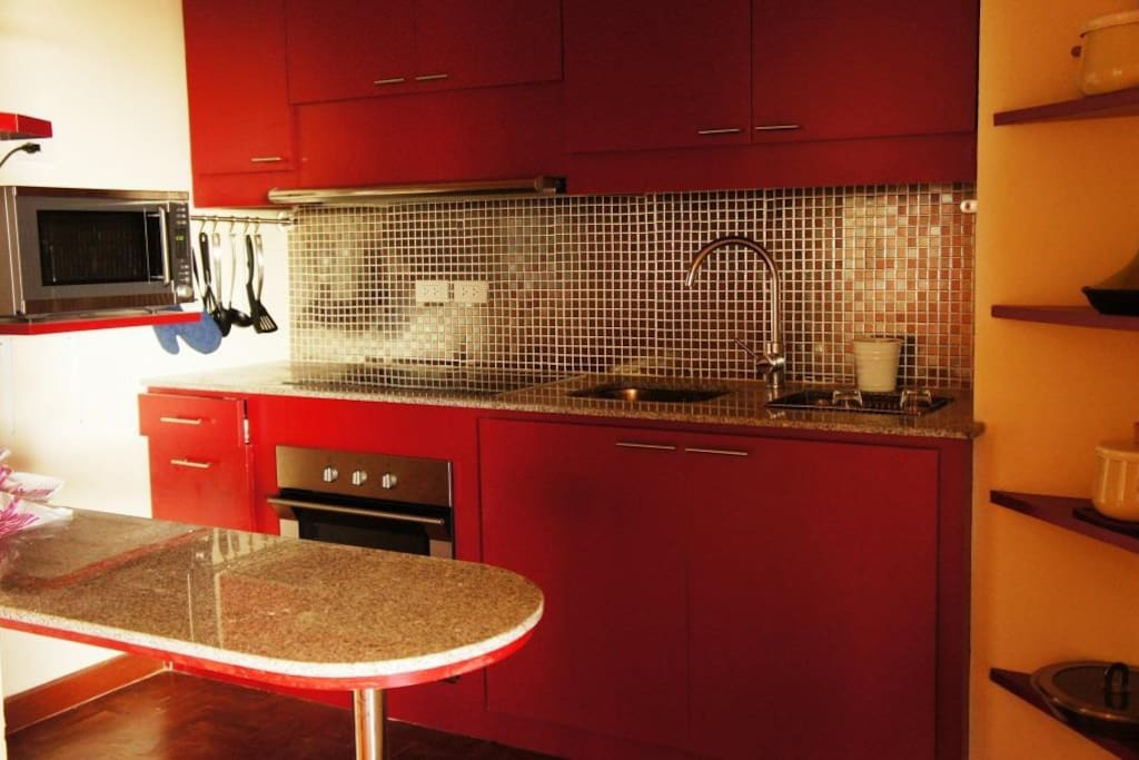 Kitchen with imported appliances: oven, microwave, induction cooking