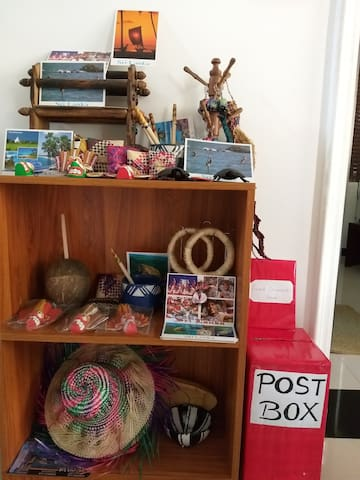 Handicraft and picture postcard counter for guests. Postal service is also available for guests.
