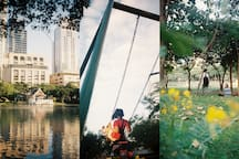 For family, Benjasiri Park offers outdoor sports facilities rarely found at other public parks in Bangkok, including a basketball court, roller skating/skateboarding rink, tennis court, outdoor swimming pool, and a multi-purpose court for sports.