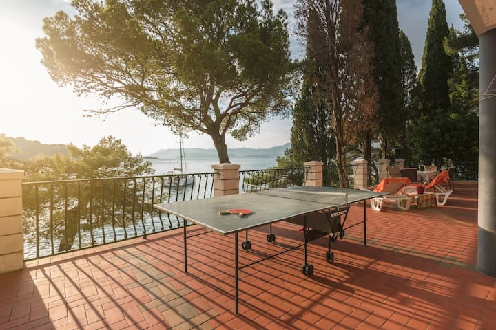 Terrace with sunbeds, table tennis