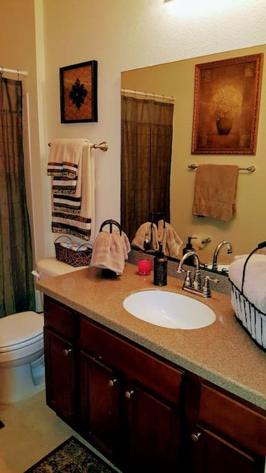 Bath with everything you will need during your stay! Lotions, shampoo, conditioner, body wash and plenty of towels :)