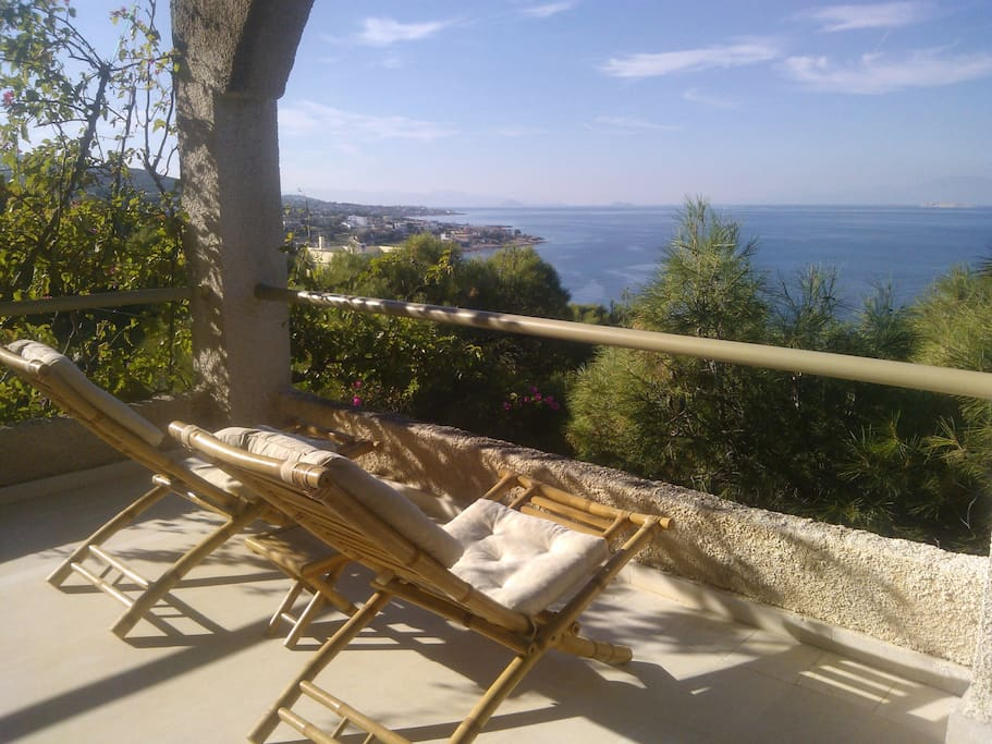 View of Saronicos bay, while relaxing to the veranda