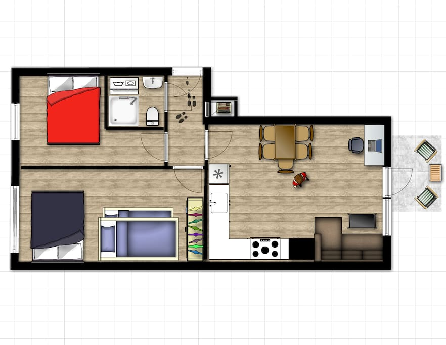 The floor plan. All furnitures are places in the right positions with correct size.