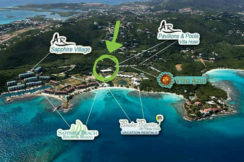 In the middle of Sapphire Beach. walking distance to everything.  Beach, Marina, Pool/restaurant,free Parking, safari bus.