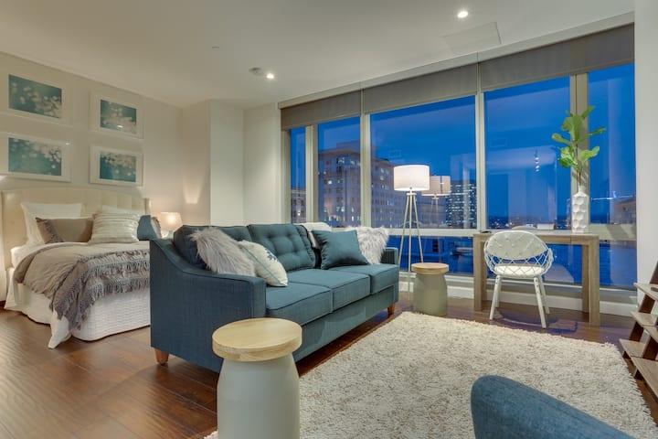 Chic studio-style condo downtown w/ city views - dogs OK!