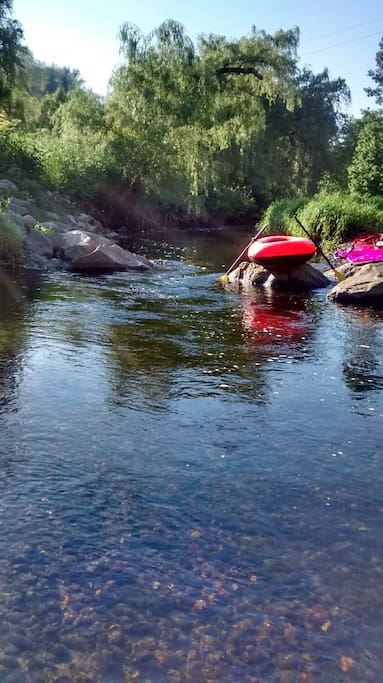 The narrow, dinghy, tube or kayak worthy river that is only a short 5 minute walk away.