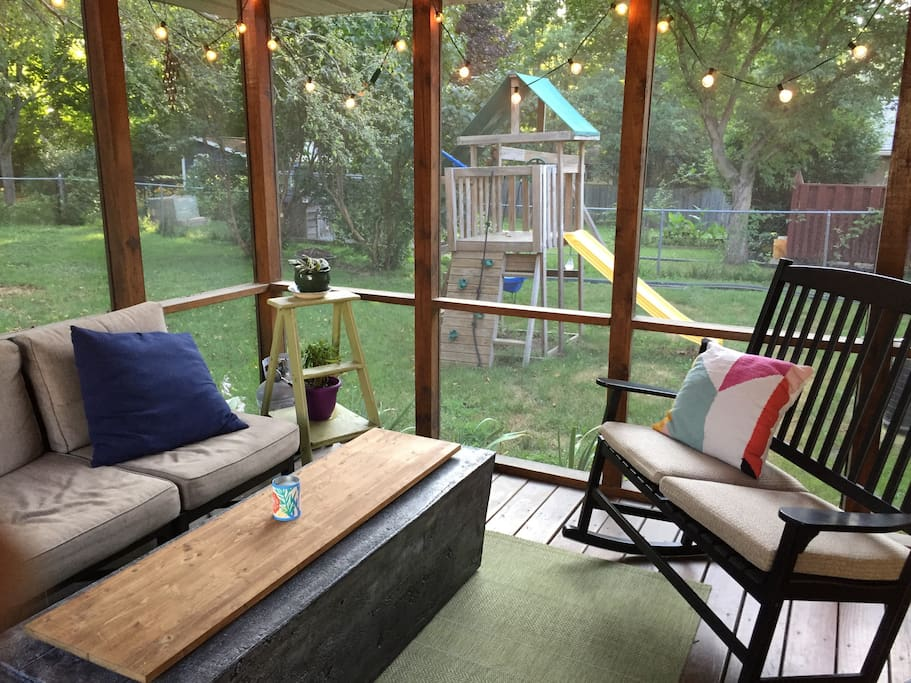 Backyard is completely fenced in. Kids can enjoy running around and playing on our wooden play set