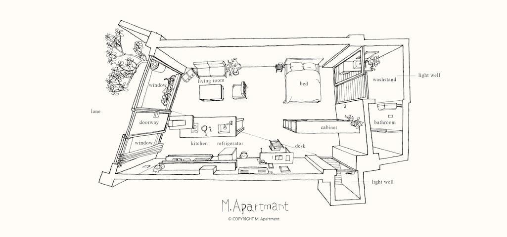 馬公綠町-獨立門廳,專屬的吧台、廚房與客廳 M. Apartmant