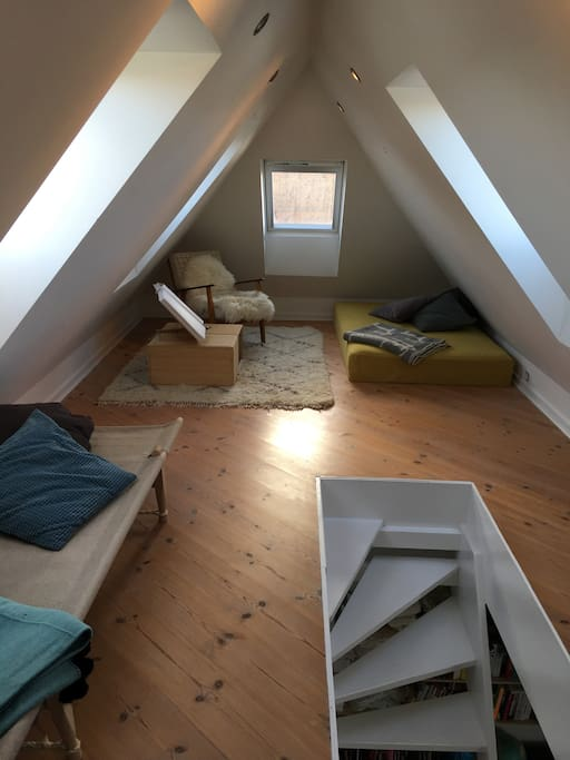Sleepingplace at the bed attic. It is possible to get an air mattress here as well.