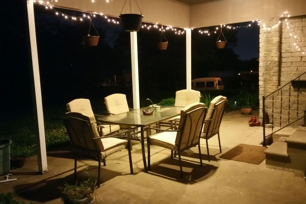 Spacious backyard with garden and grille