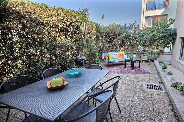 appart' traversant avec 50 m² jardin privatif