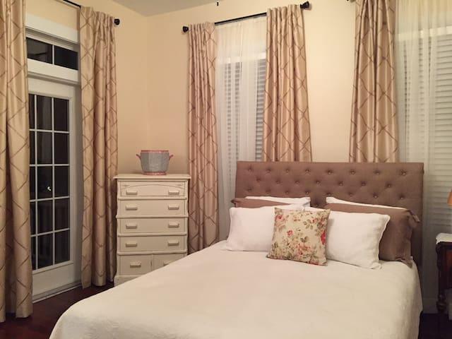 Queen size bed in your bedroom.
