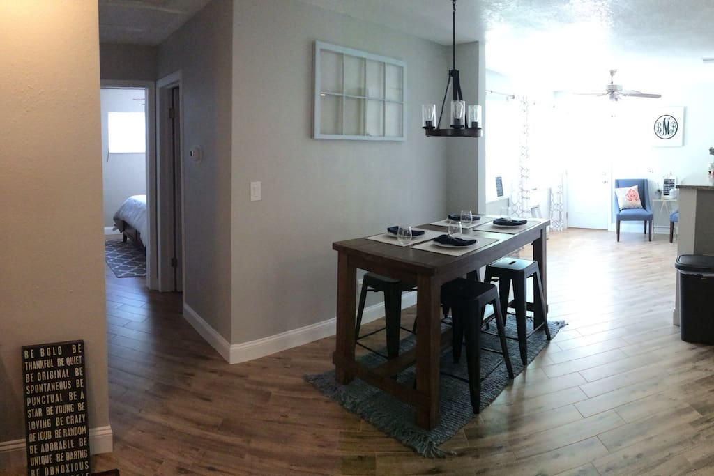 Beautiful dining area with bonus room