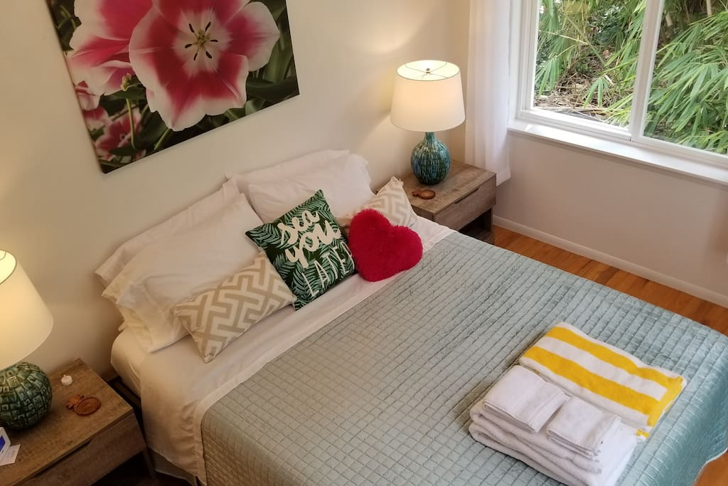 "★★★★★ Review from Alicia - April 2018: ""LOVE this place. It's my favorite AirBnB ever. -super fun neighborhood -walking distance to a great beach -Spacious home -fully equipped with EVERYTHING -wonderful kitchen -big lanai with table and hammock -comfortable beds -lovely welcome package -great communication -very clean -stylish decor It's a drive but worth it. If you want a tropical vacation, to fall asleep to the sound of frogs, to walk to the beach and enjoy laid back island life, stay here."""
