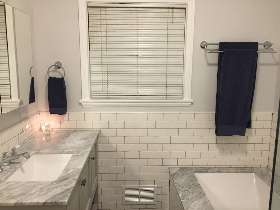 BRAND NEW fully renovated bathroom with Restoration Hardware towels, shampoo, conditioner, & soap provided.