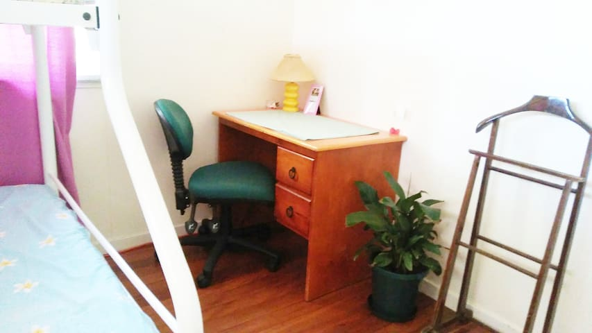 Desk and chair in your room.