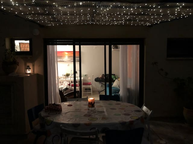 Fairy lights turn on automatically as soon as the night falls.
