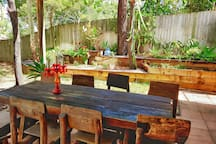 The back garden is a lovely spot to sit in the morning sun and enjoy breakfast or for cooling afternoon breezes.