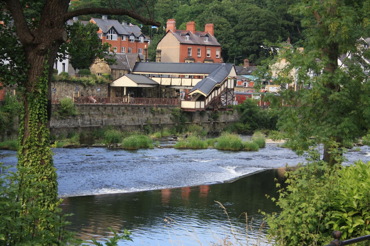The Llangollen railway just across the Dee. This is the view from the end of the garden, a perfect place to sit outside and unwind.