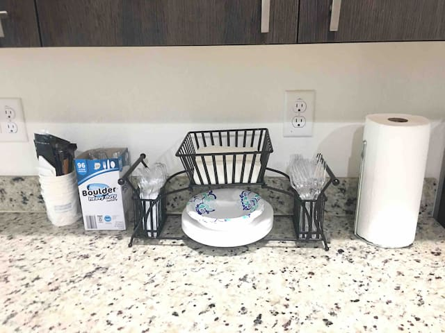Disposable cups, plates, utensils, napkins and paper towels