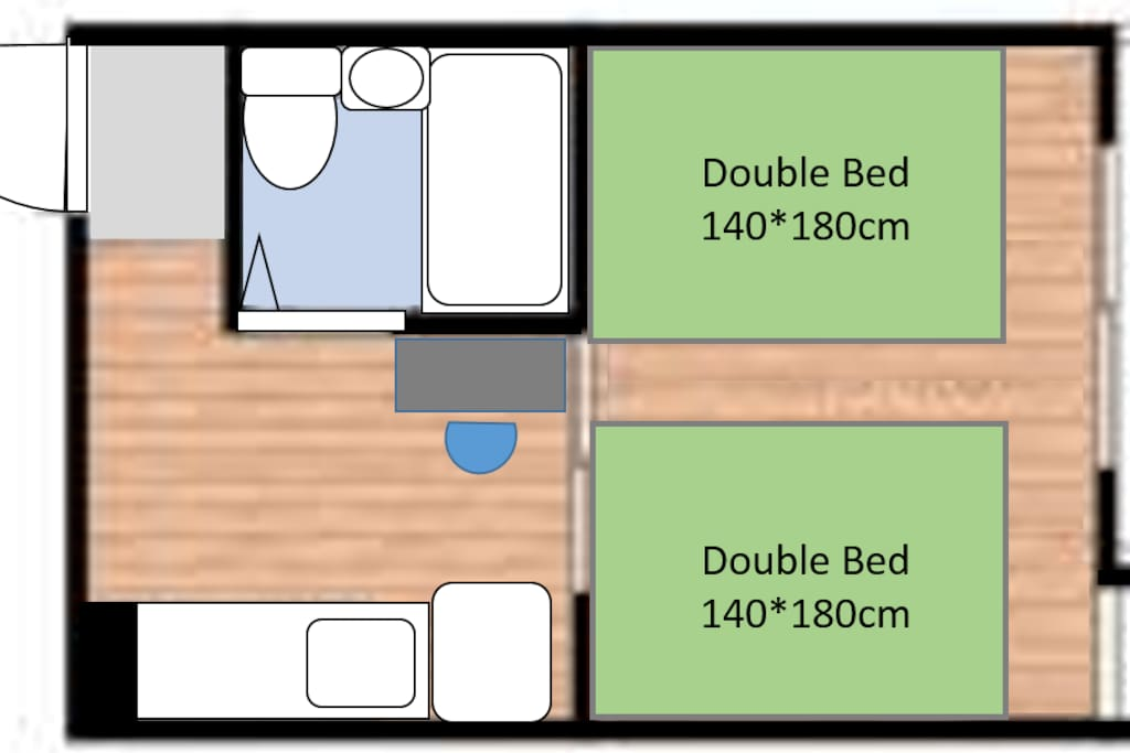 the total size is about 21 square meters. the bed room size is about 10 square meters.